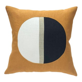 Contemporary Moon Phase Circle Colorblock Pillow Cover For Sale
