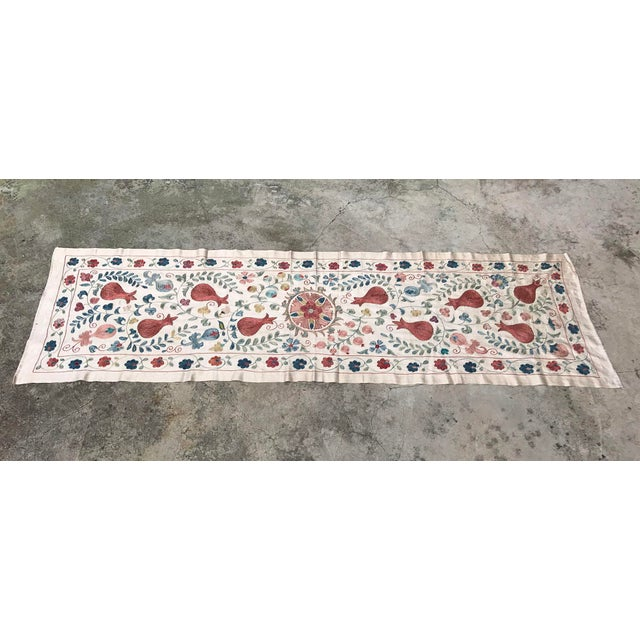 Vintage Pure Silk Suzani Table Runner - Image 2 of 6