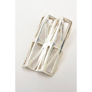 French Claude Montana Geometric and Sculptural Silver Plate Runway Earrings - a Pair Preview