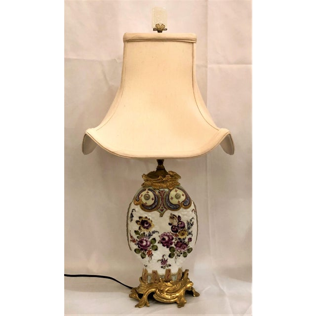 "Pair Antique Chinoiserie Porcelain Lamps (Possibly Samson) with Ormolu Mounts. Shade is 12 1/2"" Wide x 10"" Deep Base is 6""..."