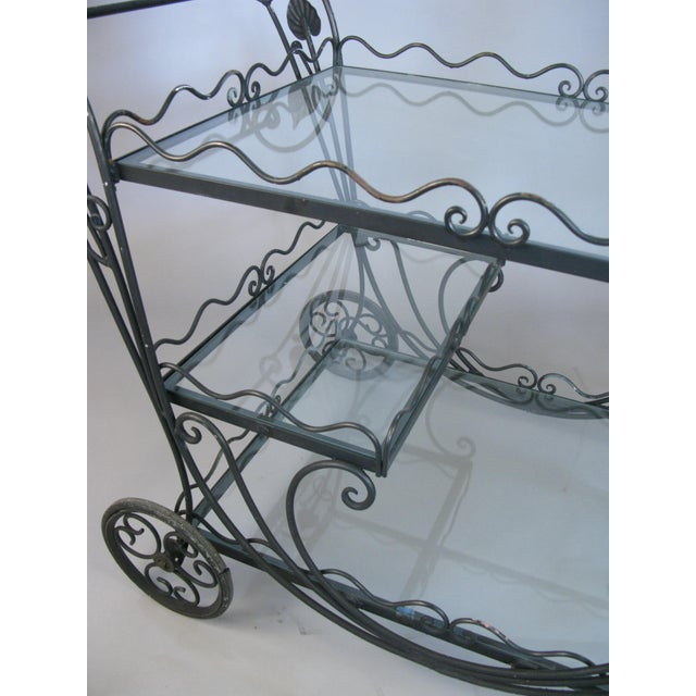 Vintage 1950's Wrought Iron Scroll Bar Cart For Sale In New York - Image 6 of 8