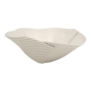 Hand Built Corregated Porcelain Bowl For Sale
