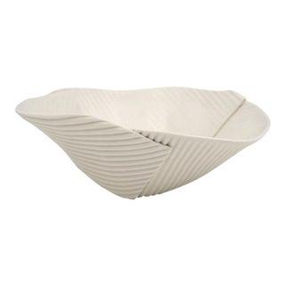 Hand Built Corregated Porcelain Bowl For Sale
