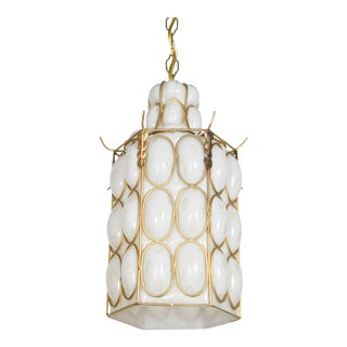 White and Gold Caged Glass Pendant