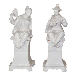 Large Italian Faience Glazed Chinese Figures on Pedestals - A Pair For Sale