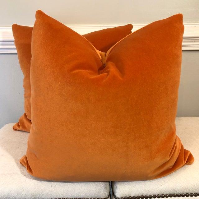 "2010s Bright Pumpkin Cotton Velvet 22"" Pillows-A Pair For Sale - Image 5 of 5"