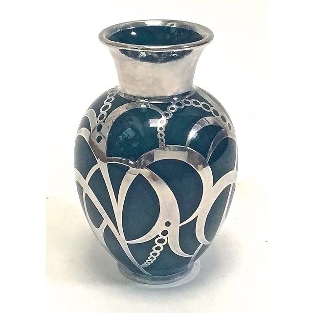 Art Deco Haviland Green & Silver Porcelain Vase - Image 4 of 9