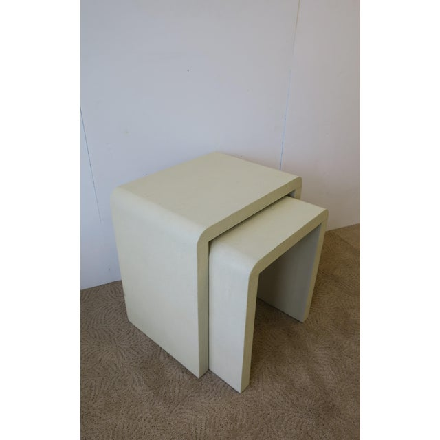 Modern Shagreen-Esque Nesting Tables With Waterfall Edge For Sale - Image 3 of 12