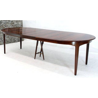 Mid-Century Modern Banquet Large Dining Conference Table Three Leaves Round Preview