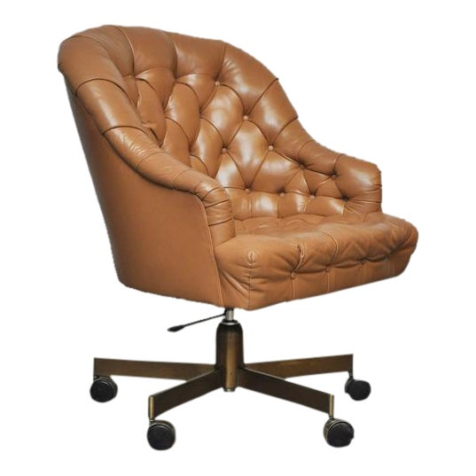 Dunbar Tufted Leather Desk Chair on Bronze Base by Edward Wormley - Image 1 of 6