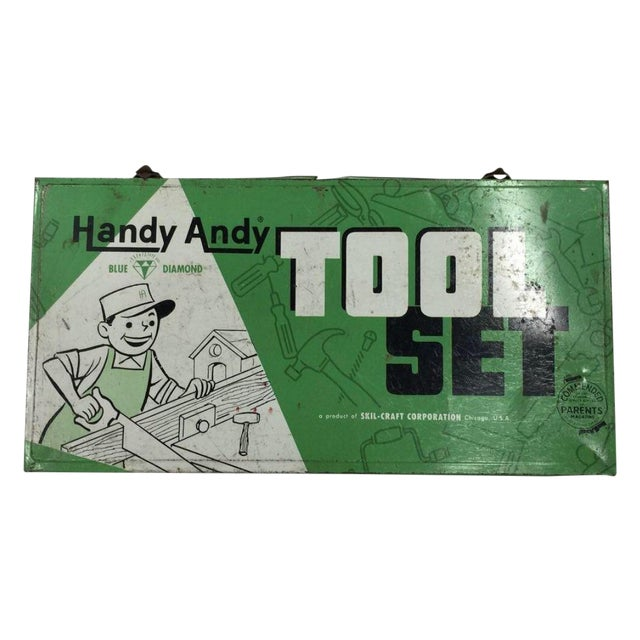 Vintage Handy Andy Green Tool Set Box - Image 1 of 8