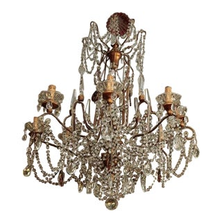 Eight Light Italian Crystal Chandelier With Gilt Wood Bobeches For Sale