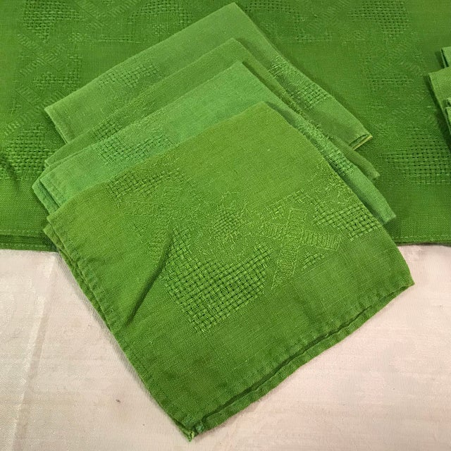 Green Vintage Lime Green Woven Placemats and Napkins - Set of 8 For Sale - Image 8 of 9