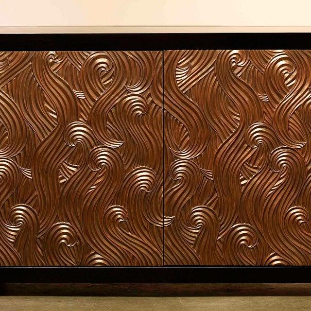 Contemporary Dragon Swirl Bar Cabinet - Antique Copper For Sale - Image 3 of 3