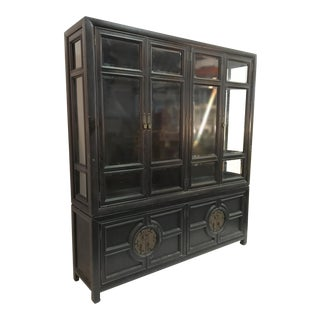 Hollywood Regency Chinoiserie Lighted Cabinet by Century