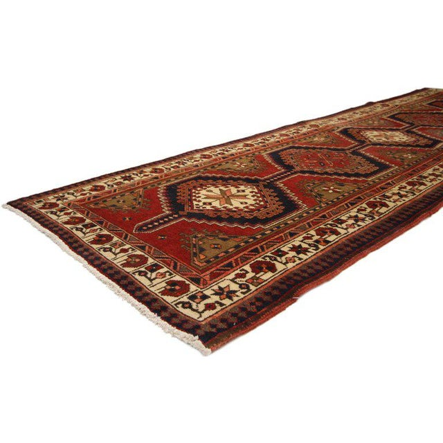 75372, Nomadic style vintage Persian Azerbaijan Tribal runner, hallway runner. Complete with nomadic style, warm and...