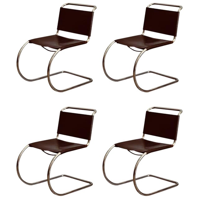 Set of Four Classic Thick Leather and Chrome Mr Chairs by Mies Van Der Rohe For Sale