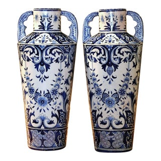 Pair of 19th Century French Hand Painted Delft Faience Trumpet Vases For Sale