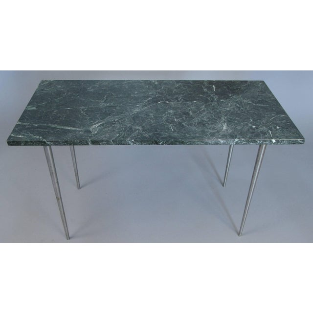 Vintage 1960s Steel and Green Marble Top Table For Sale - Image 4 of 8