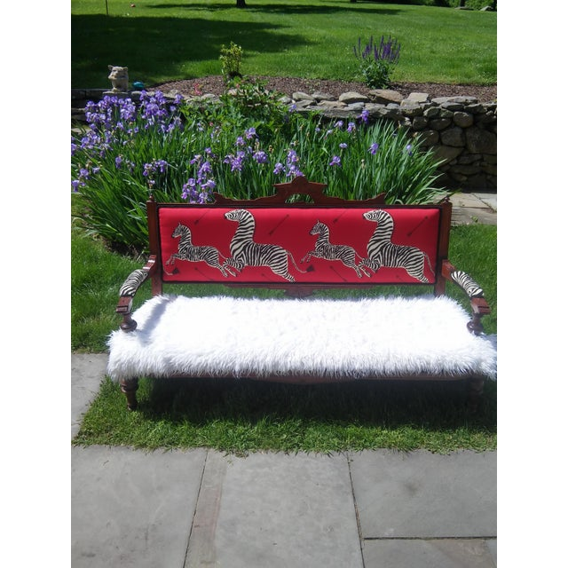 Early 20th Century Eastlake Settee a La Scalamandre For Sale - Image 12 of 13