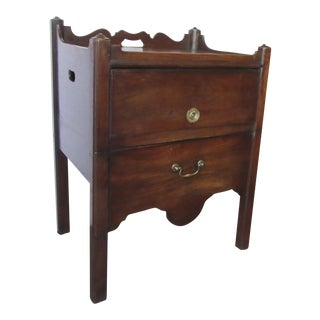 English Mahogany Commode with Campaign Handle Lift Up Compartment Side Table Early 19th Century For Sale