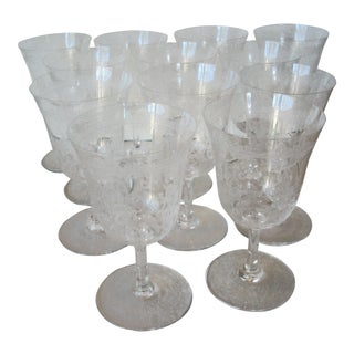 1930s Baccarat Crystal White Wine Stems - Set of 12 For Sale