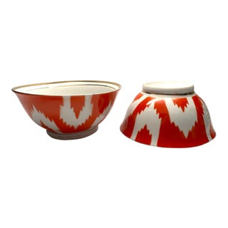 Vintage 1960s Uzbek Ikat Orange Soup Bowls - Set of 2 For Sale