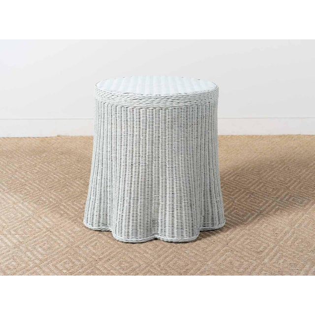 Round wicker side table Hand woven Scalloped design Flagstone gray painted finish