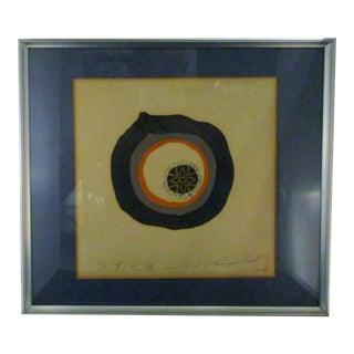 Vintage Japanese Freeform Geometric Eclipse Art Print A/P Signed For Sale