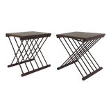 Image of 1960s Danish Modern Teak Folding Tray Top Side Tables - a Pair For Sale