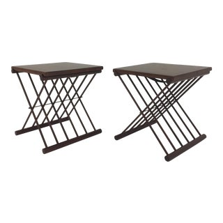 1960s Danish Modern Teak Folding Tray Top Side Tables - a Pair For Sale