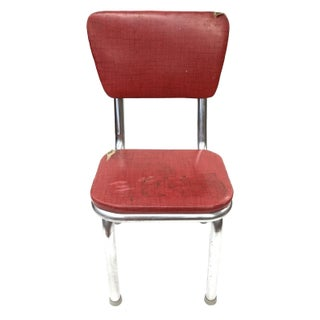 Mid Century Modern Red Vinyl Accent Chair For Sale