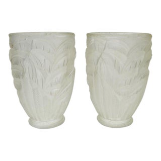 French Art Deco Signed Schneider France Frosted Glass Shades - Set of 2 For Sale
