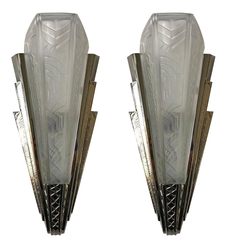 Wonderful Pair Of French Art Deco Wall Sconce Signed By P. Maynadier   Image 1 Of
