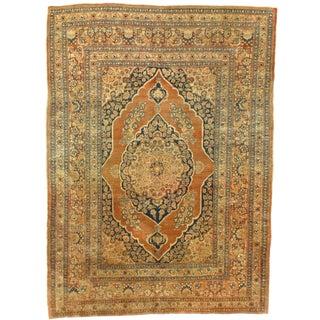 Late 19th Century Antique Tabriz Hajjalili Rug - 4′1″ × 5′6″ For Sale