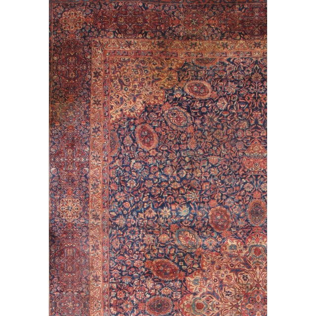 Antique Indo Tabriz Design rug. Manchester Wool Hand-Spun Wool Vegetable Dyed Hand-knotted wool pile on a Cotton...