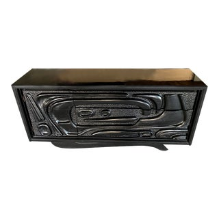 """Tiki Design"" Black Lacquered Sideboard by Pulaski For Sale"