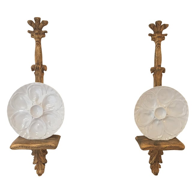 Porcelain Oyster Plates on Gold Brackets - A Pair - Image 1 of 5