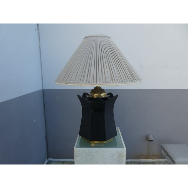 70's Brass and Black Ceramic Decorator Accent Lamp For Sale - Image 11 of 13