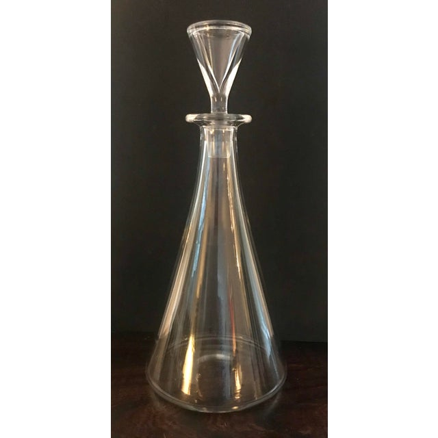 Lovely Baccarat Crystal elegant decanter with stopper in the Ship's pattern made in France. This cone-shaped decanter has...