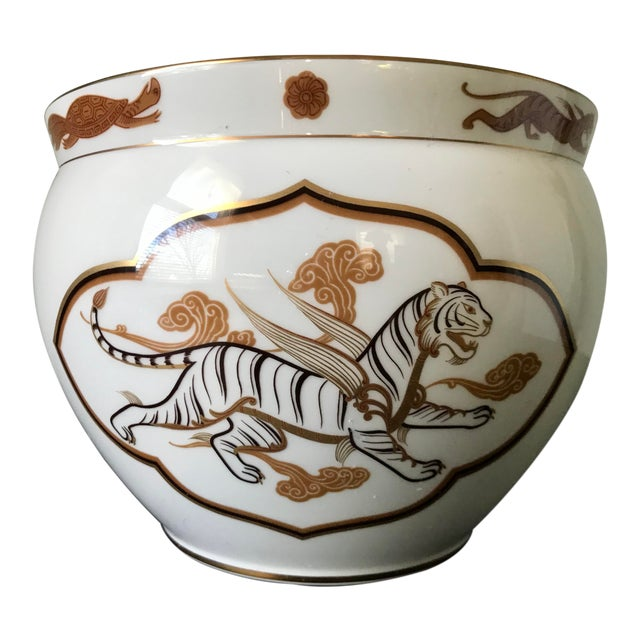 1970s Vintage Porcelain Okura Byakko White Tiger Bowl For Sale