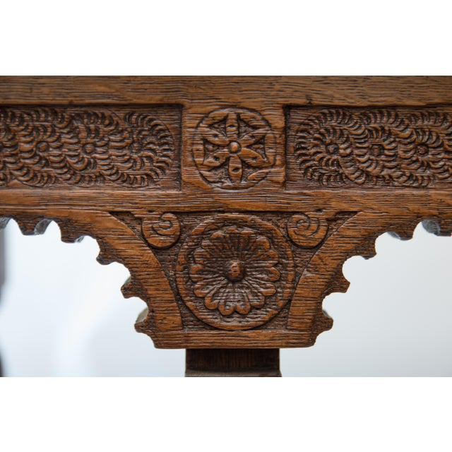 19th-Century Antique French Carved Oak Bench For Sale In Houston - Image 6 of 10