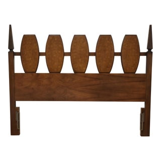 Young Manufacturing Walnut and Burl Queen Headboard For Sale