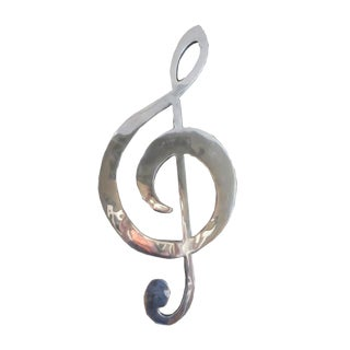 Musical Treble Clef Polished Aluminum Wall Sculpture