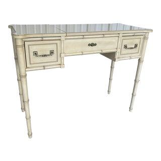 Vintage Henry Link Faux Bamboo Vanity Desk For Sale