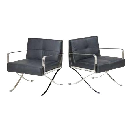 Leather & Chrome Office Chairs - a Pair - Image 1 of 5