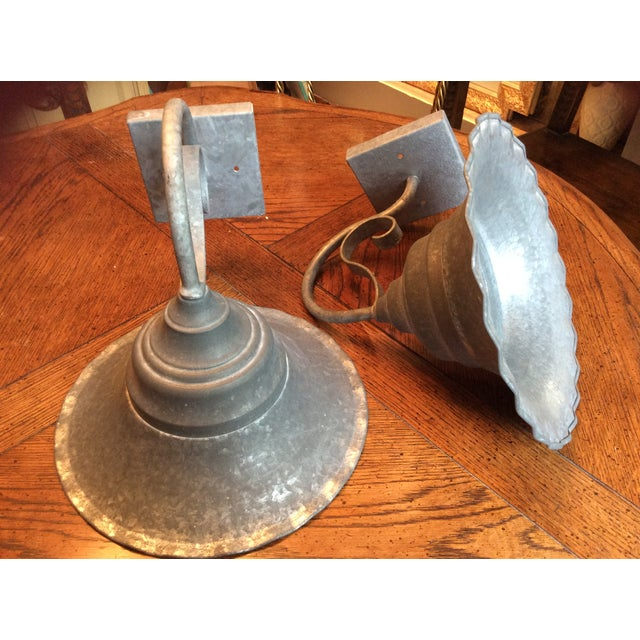 Vintage Smith and Hawken Galvanized Sconces - Pair - Image 8 of 8