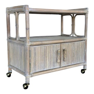 1970s Vintage Boho Chic White Washed Bar Cart For Sale