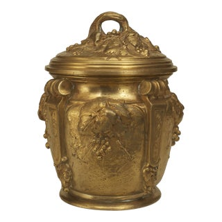 French Art Nouveau Gilt Bronze Round Box For Sale