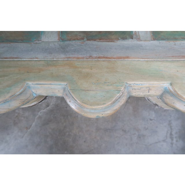 Monumental Square Scalloped French Painted Coffee Table For Sale - Image 10 of 11